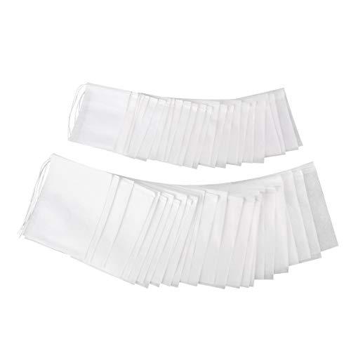 OUNONA 200pcs Unzen 200 Stück Kordelzug Teebeutel Filterpapier Leere Teebeutel Beutel für Lose Blätter Teepulver Kräuter (Weiß)