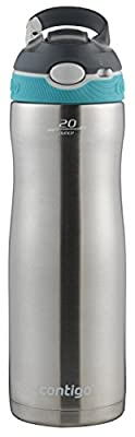 Contigo Stainless Steel Water Bottle | Vacuum-Insulated Water Bottle | Autospout Ashland Chill Water Bottle, 20 Oz, Stainless/Scuba