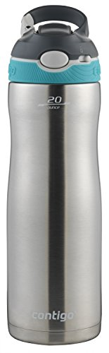 Contigo - 2076624 Contigo Stainless Steel Water Bottle | Vacuum-Insulated Water Bottle | Autospout Ashland Chill Water Bottle, 20 Oz, Stainless/Scuba