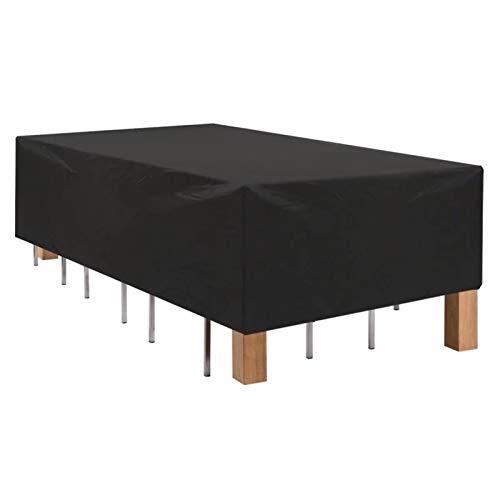 ASPZQ Paño Oxford 210D Fundas para Muebles Jardín para Sofá de Silla Mesa Ratán Impermeable Protección contra El Polvo Fundas Chaise, Tamaño Personalizable (Color : Negro, Size : 242×162×100cm)