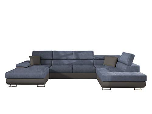 Mirjan24 Ecksofa Cotere Bis, Eckcouch, Sofa mit Schlaffunktion und Bettkasten, U-Form Couch Farbauswahl Wohnlandschaft vom Hersteller (Soft 029 + Mono 240 + Soft 029, Seite: Rechts)