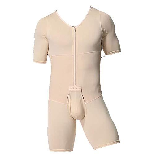 Whlucky Deportes atléticos Ropa Interior Body Adelgazante Talla Extra compresión Fajas con Cremallera para Hombres,Beige,XXL