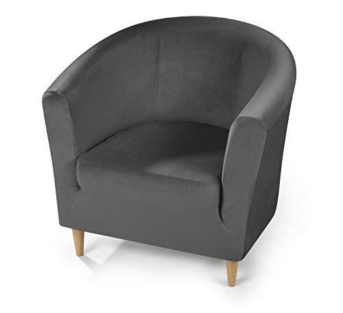 BEAUTEX Maya Samt Sofahusse für Ecksofa, Clubsessel, 1er, 2er, 3er Sitzer, elastische Stretch Husse, Farbe wählbar (Clubsesselhusse Grau)
