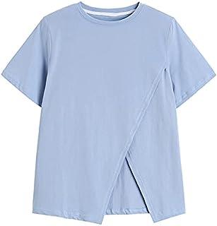 Wxcgbdx Womens T Shirts, O-neck Short-Sleeved Blouse Summer Split Hem Design Casual Fashion Women's Solid Color (Color : B...