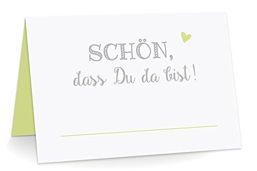 KuschelICH 100 Premium Tischkarten Schön DASS Du da Bist mit Herz hellgrün - Platzkarten zum...