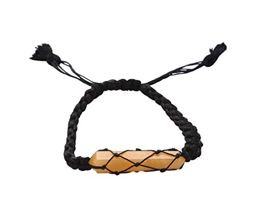 Blessfull Healing Reiki varita de doble punto piedra de calcita amarilla ajustable pulsera de hilo negro joyería para Unisex