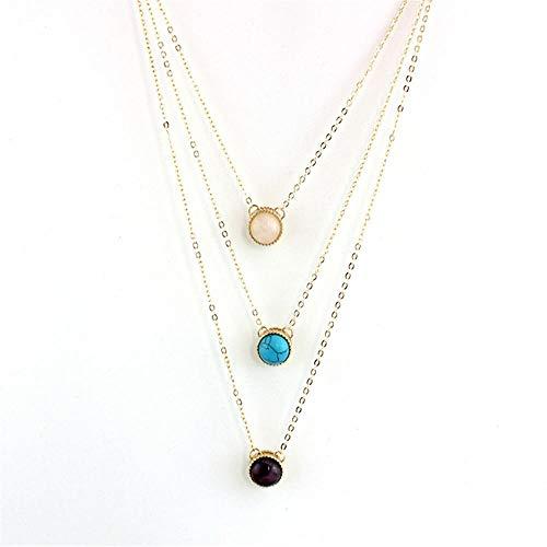TTDAltd Halskette mehrschichtiger Anhänger eingelegte Perle Pulver Zitrone und Halskette Mädchen Geschenk Party Girl Geschenk-C