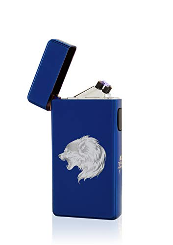 TESLA Lighter T13 Lichtbogen Feuerzeug, Plasma Double-Arc, elektronisch wiederaufladbar, aufladbar mit Strom per USB, ohne Gas und Benzin, mit Ladekabel, in edler Geschenkverpackung, Wolf Blau