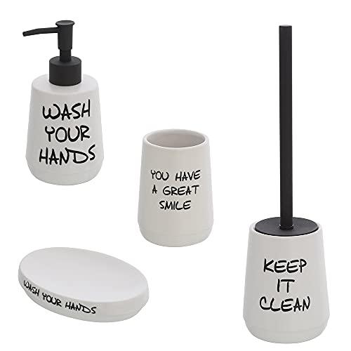 Accessori bagno in ceramica bianco, p/spazzolini, dispenser, p/sapone e p/scopino stile vintage