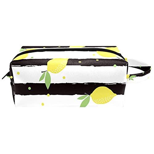 Bolsa de cosméticos de piel con asa, diseño de escala de sirena, color azul, rosa y verde, impermeable, bolsa de viaje, estuche pequeño para lápices para mujeres, hombres y niñas