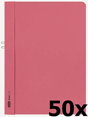 ELBA 400001028 Klemmhandmappe Smart Line 50er Pack A4 ohne Vorderdeckel aus 250 g/m² Karton rot