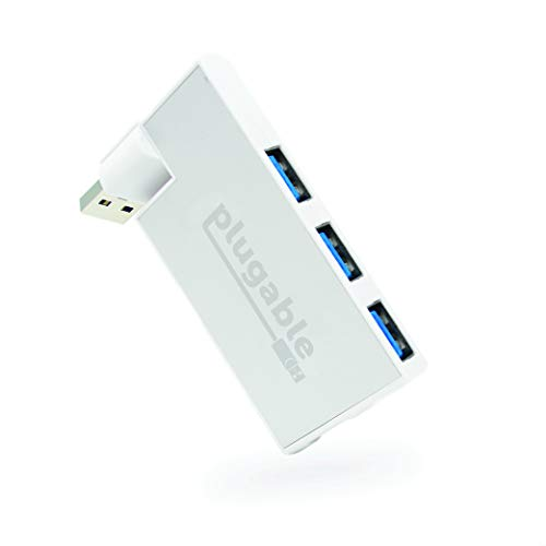 Plugable USB Hub, Rotating 4 Port USB 3.0 Hub, Powered USB Hub (Compatible with Windows, macOS & Linux, USB 2.0 Backwards Compatible)