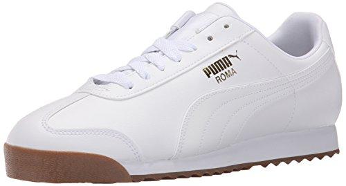 PUMA Men's Roma Basic Fashion Sneaker, White/White/Gum - 10.5 D(M) US