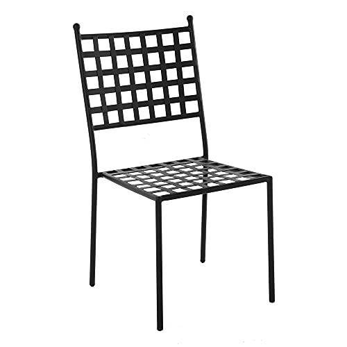 Silla de jardín apilable Cartago de forja Negra de 48x55x90 cm - LOLAhome