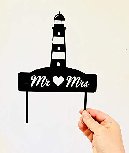 Mr & Mrs Leuchtturm Hochzeitstorte Tortenaufsatz Strand oder nautisches Thema Acryl Hochzeit Kuchen Dekoration Gold Spiegel Silber Spiegel Rose Gold