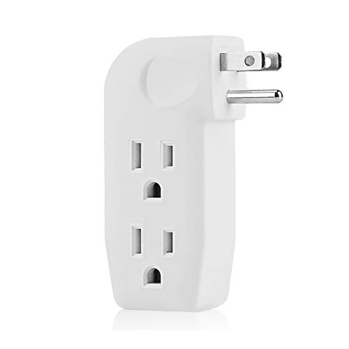 3 Way Outlet Vertical Wall Tap Splitter Adapter with 3 Prong Plug for behind furniture, hard plastic,UL listed