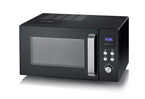 Severin MW 7757 - Microonde inverter a microonde, per scongelare, cuocere e riscaldarsi, con piatto girevole per una distribuzione uniforme del calore, nero/acciaio INOX