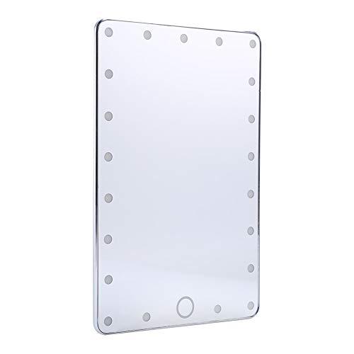 Miroir de Maquillage Lumineux LED Portable, Luxe Réglable Éclairage de Smart Écran Tarticle Conception USB Rechargeables Voyage Pour les Cosmétiques(Argent)
