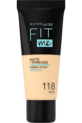 Maybelline New York, Base de Maquillaje que Calca a tu Tono Fit me! Mate y Afinaporos, Color: 118 Nude