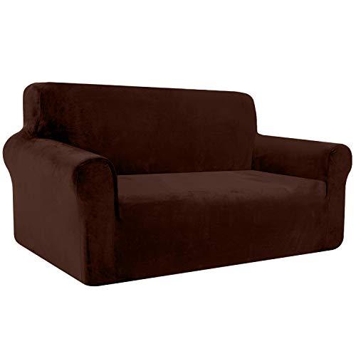 Luxurlife Velvet - Funda de sofá elástica de felpa para sofá de 2 plazas con reposabrazos para salón, antideslizante (2 plazas, chocolate)