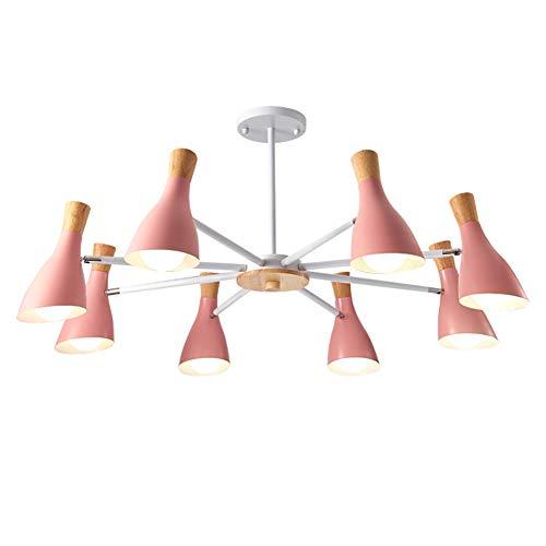 Nórdico Sputnik Lámparas De Araña,E26 Industrial Ajustable Lámpara Colgante,Madera LED Iluminación Colgante,Lámpara De Techo Accesorio Para Hallway Bar Cocina Comedor Rosa 8 Luces