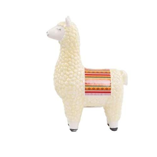 Llama White Cream Money Box Ceramic Blanket Fun Piggy Bank Saving Jar Coins