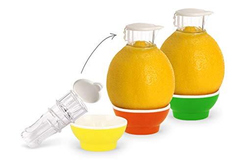 Patent-Safti 3 x Zitronenpresse Zitronen-Ausgießer Orangen-Limetten-Zitronen-Entsafter Manuelle Saft-Presse Citruspresse (Gelb Orange Grün)