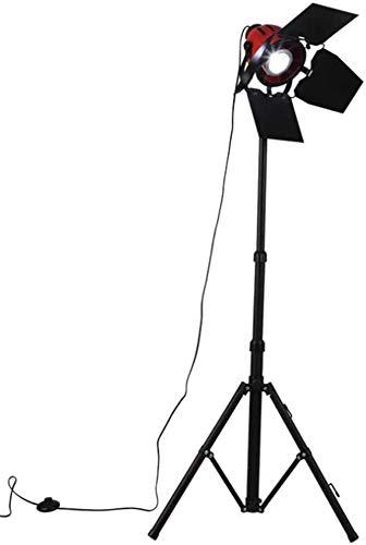 N\A ZGGYA Lámpara De Pie Foco Rojo Negro Reflector Trípode De Hierro Forjado Lámpara De Pie 1.7M con Interruptor De Pie Lámpara Giratoria De Altura Ajustable Cabeza Abierta Y Cerrada