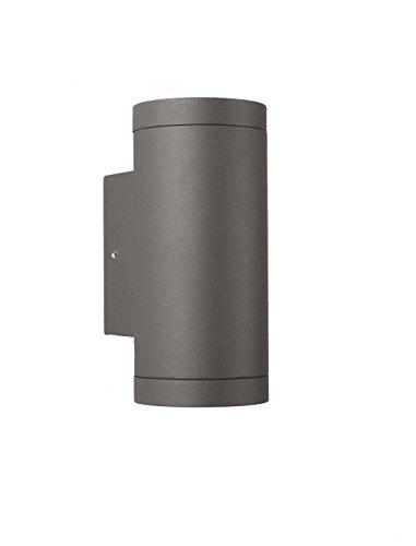 GU10 Up and Down Aussenleuchte rund Wandleuchte - Aluminium Anthrazit für LED oder Halogen Leuchtmittel Up & Down light innen Außen C1001