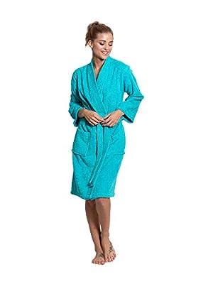 Turkuoise Women's Terry Cloth Robe 100% Premium Turkish Cotton Terry Kimono Collar