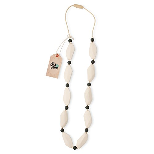 Fox & Finn 'Sophia' Silicone Teething Necklace for Babies | Safety Knotted Silk Rope | Does Not Pull Out Hair | 14 Inch Drop (coconut)