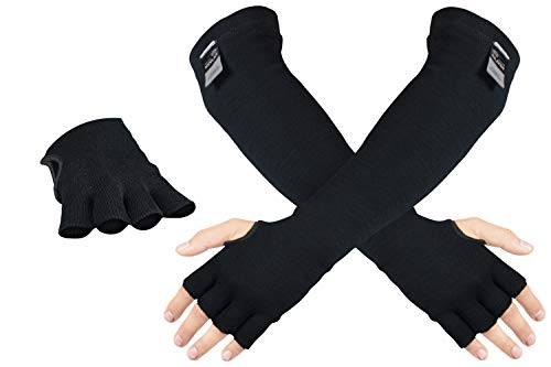100% Kevlar Protective Sleeves- Anti Heat Scratch & Cut Resistant Arm Sleeve with Finger Opening- Safety Sleeves for Arms- Long Arm Guard Protector for Work Welding- Bite Proof- 18 Inches Black 1 Pair