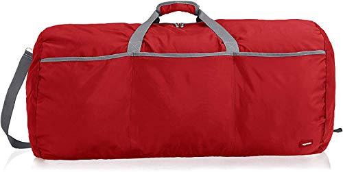 Amazon Basics - Bolsa grande de viaje/deporte (lona, 98 l), color rojo