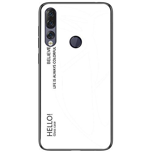 BINGRAN Lenovo Z5s Hülle, Gradient Color Gehärtetes Glas Rückendeckel + Weiche TPU Silikon Stoßstange Stoßdämpfung Schutzhülle Handy Hülle für Lenovo Z5s -Weiß