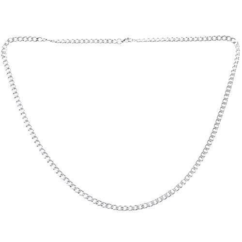 Jaimenalin Cadena de Hombres de joyeria, Collar de Cadena coraza de Figaro de Acero Inoxidable, Plata - Ancho 5 mm - Longitud 45 cm