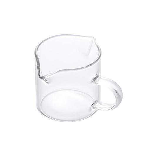 Jarra Leche Taza de leche de doble boca con taza de cristal de mango Mini taza de leche resistente al calor con taza de medición graduada Café leche leche utensilios Jarrita Leche (Size : 60ml)