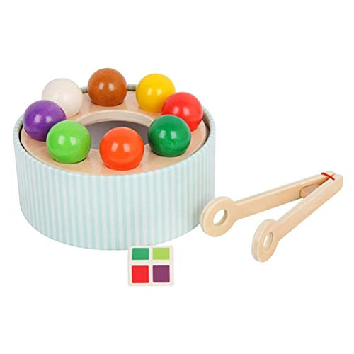AYily Rainbow Wooden Toy Clip Beads Board Game Colorful Ball Recognition Toy Educational Toy for Kids