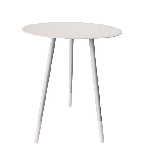 BOMDB|#Bombay Duck Round Enamel Side Table, Metal, Dove Grey, 36x36x49 cm