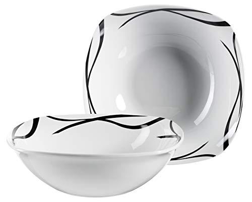 Mäser 991368 Serie Oslo, Obstschale oder Salatschüssel 2er-Set, klassisch, zeitlos, elegant, Porzellan, schwarz-weiß