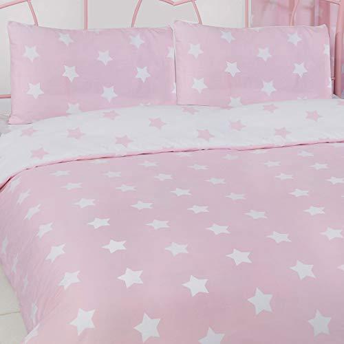 Price Right Home - Juego de funda de edredón y funda de almohada blanco y rosa, diseño de estrellas