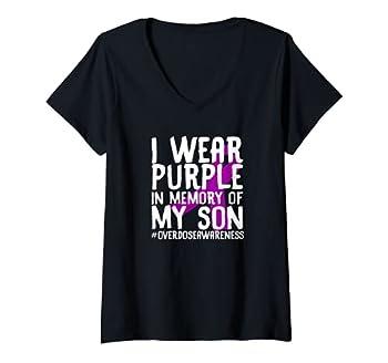 Womens Overdose Awareness Memory Of Deceased Son Drug Abuse V-Neck T-Shirt