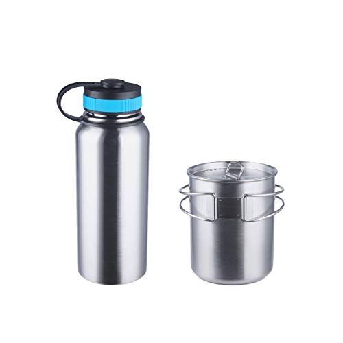 Stainless Steel Bottle with Nested Camping Cup with Lid - Canteen, Camping Cookware, Mess Kit, Bushcraft Gear, Bug Out Kits, Camp Mug, Bugout Bag