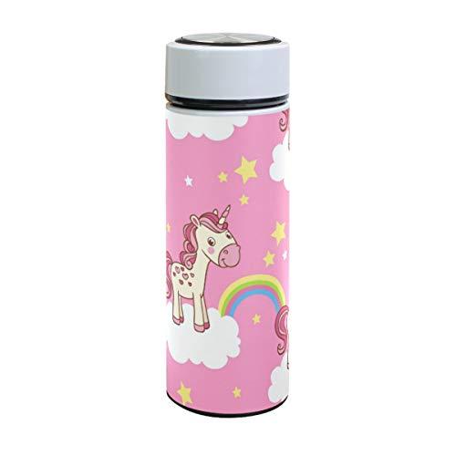 ISAOA - Botella de Agua de Acero Inoxidable con diseño de Nubes de Unicornio, Doble Pared aislada al vacío, a Prueba de Fugas, para Deportes al Aire Libre