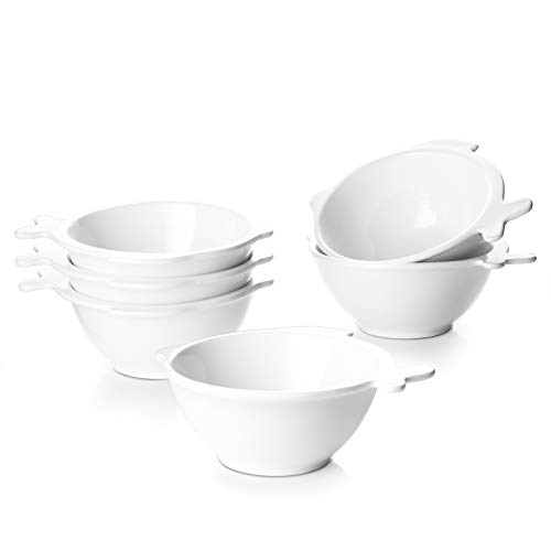 """DOWAN Small Serving Bowls, 12 Oz Ice Cream Bowls Set of 6, Microwave & Dishwasher Safe Dolphin Shaped Ceramic Bowls for Kitchen, Ideal as Pudding Cups, Side Dish, Candy Bowls, 4.5""""x 2.3"""""""