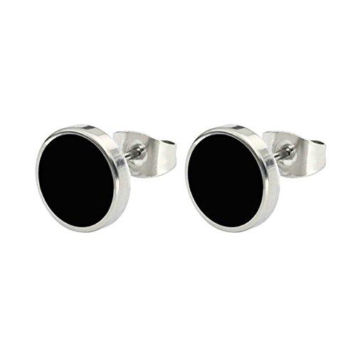 Aooaz 1 Paare / 2 Stück Creole Ohrringe 12mm Edelstahl Allergiefrei Schwarz Rund Ohrringe für Damen und Herren Frauen Männer