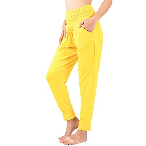 LOFBAZ Yoga Pants for Women Workout Leggings Girls Teen Sweat Joggers Womens Clothes Sweatpants Clothing Harem Jogger Pajamas Yellow Small