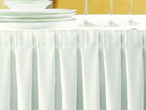 Gastro Uzal Skirting/Kellerfalte in weiß 410 x 73 cm Skirtings für Tische, Büffet Skirting Tablerock