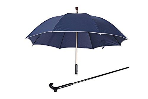 XXN-Reflective Ombrello a Bastone Multi-Funzione di Maniglia Rinforzata per Gli Anziani Ombrello di Sicurezza Auto-Difesa Slittamento Staccabile,Regolabile in Altezza in Blu