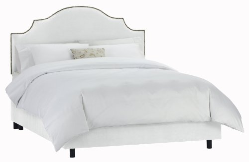 Big Sale Skyline Furniture Velvet King Nail Button Notched Bed, White