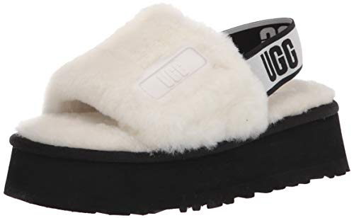 UGG womens Disco Slide Slipper, White, 9 US